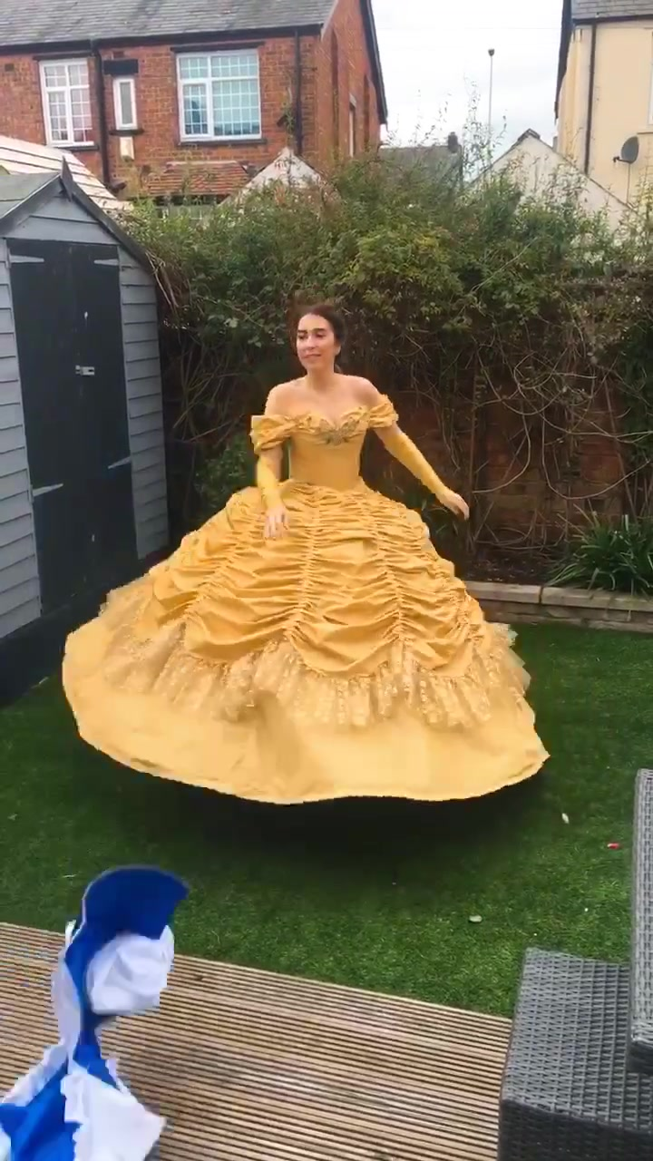 our popular transformation dress got deleted by tiktok! I've had to reupload it! 😢 #beautyandthebeastcosplay #dresstransformation #costume #belle #fy of tik tok songs most popular