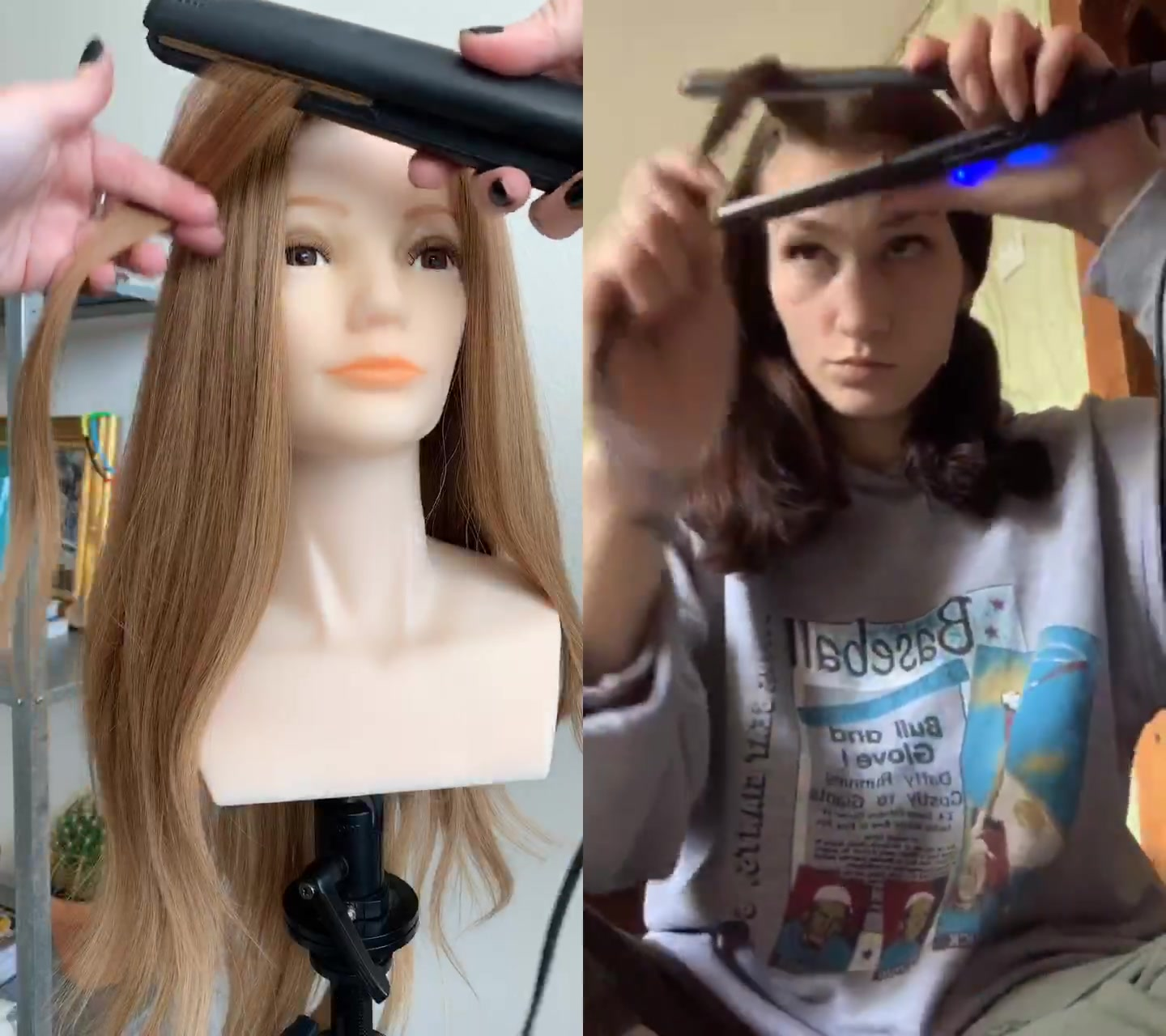 Turn the iron instead of wrapping the hair around the iron.  You'll curl closer to the scalp that way. 🤗#fyp #duet with @ksanya95 of tiktok banana