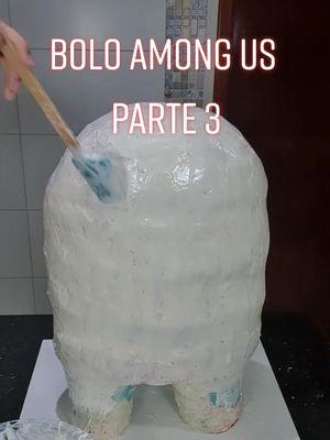 Bolo Among Us Gigante - PARTE 3   #cake #amongus #comida tiktok