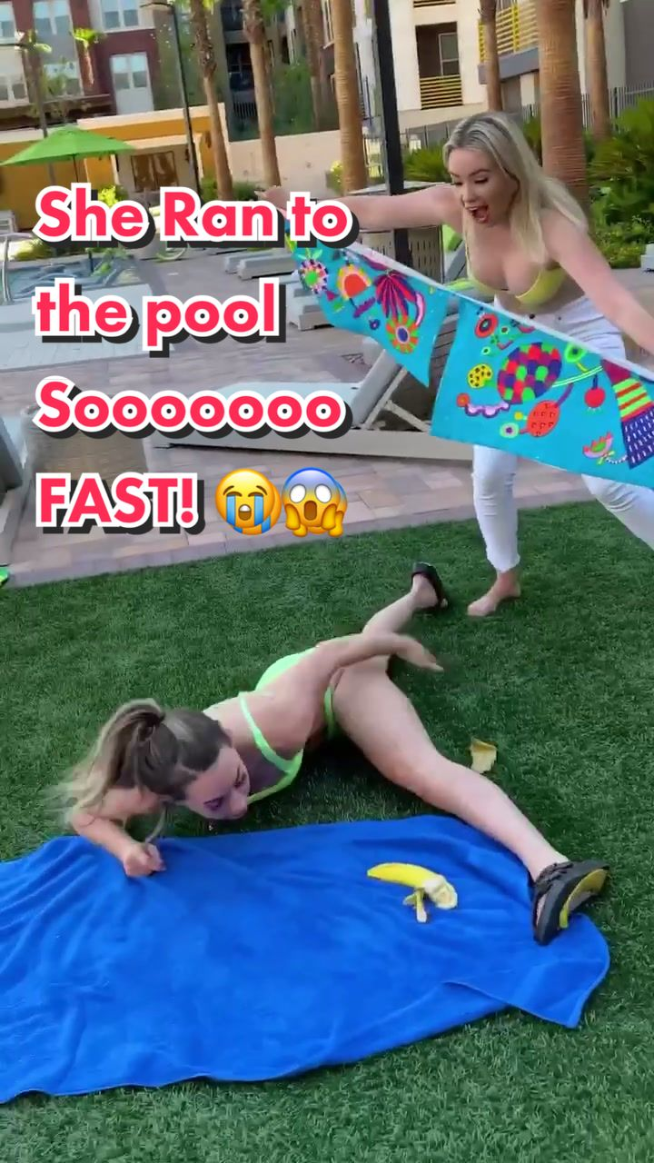 She thought it Tore 🤭 #PerfectAsIAm #comedy #prank #fyp #viral #trend #water #flipflops #banana #snack #tape #prankster #pool of trending songs on tik tok 2019