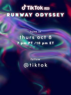 Celebrate the end of #TikTokFashionMonth with TikTok Runway Odyssey ft. @aliceandolivia & @puma, Thursday 10/8 at 7PM PT