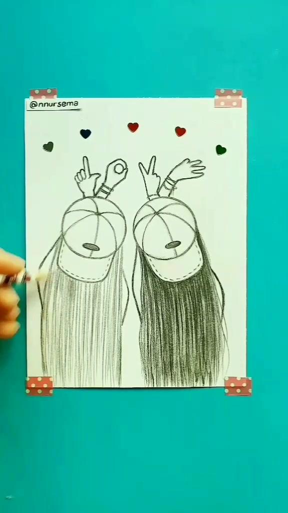 Tag your BFF 💖✌️ En iyi arkadaşını etiketle.😊 #nnursema #bff #bestfriend #BestFriends #friends #friendship #pencil #love