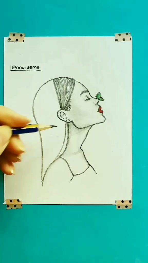 Tag your 4 friends 😍 Görmesini istediğin 4 arkadaşını etiketle ♥️ #nnursema #drawing #howtodraw #face #butterfly #tutorial #pencil #art #design #hair tiktok
